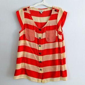 Silk Strip Cap Sleeve Button Up Blouse size 8